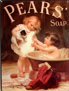 "ENAMEL PEARS SOAP PUPPY'S BATH TIME SIGN MEASURES 12""  X  16""  WITH HOLES IN EACH CORNER FOR EASY MOUNTING GREAT DETAIL AND RICH COLORS.  EXCELLENT BATHROOM SIGN"