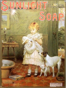 "SUNLIGHT SOAP VINTAGE ENAMEL SIGN MEASURES 12"" X 16"" WITH HOLES IN EACH CORNER FOR EASY MOUNTING RICH COLORS AND DETAIL PUPPY'S GETTING READY FOR BATH."