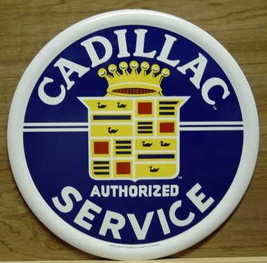 Photo of CADILLAC SERVICE ROUND SIGN, METAL WITH VERY GOOD COLOR AND GRAPHICS