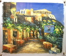 Photo of CAFE WITH VIEW OF RUINS OIL PAINTING