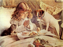 Great sign of little girl praying while her dog and cat guard her meal.  Rich colors and excellent details.
