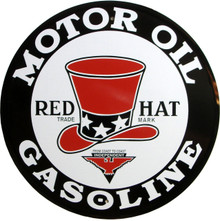 """RED HAT MOTOR OIL SIGN IS 12"""" DIAMETER WITH HOLE(S) FOR EASY MOUNTING WITH OLD FASHION DETAILS AN CRISP COLOR, THIS SIGN IS A PLUS FOR ANY PETROL ENTHUSIAST."""