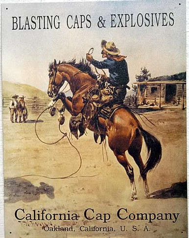 Photo of CALIFORNIA CAP BUCKING HORSE SIGN, OLD TIME AD, GREAT GRAPHICS AND OLD TIME COLOR