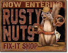 """TIN SIGN MEASURES 16"""" X 12 1/2""""  WITH HOLES FOR EASE OF MOUNTING, GREAT COLOR AND GRAPHICS"""