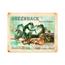 From the Barber Shop and Shoe Shine Memories licensed collection, this Greenback Greenback Smoking Tobacco Vintage Metal Sign measures 15 inches by 12 inches and weighs in at 2 lb(s). Greenback smoking tobacco, as smooth as frog's hair. This image is from an original 1890's watercolor painting, no doubt intended to become a sign for Marburg Brothers Tobacco. The painting had a trimmed chromo heliograph label from a tobacco pouch glued onto the painted image. Most likely painted by an artist at A. Hoen & Co. in Maryland who did Greenbacks chromo-lithographic work. Fabulous fantasy toadstool barbershop with the frogs giving a shave & a haircut. Everyone luvs a smooth frog! Metal sign adds some humor to your collection. This Vintage Metal Sign is hand made in the USA using heavy gauge American steel. SUBLIMATION PROCESS SIGN ON HEAVY METAL WITH HOLES IN EACH CORNER THIS IS A SPECIAL ORDER SIGN, ALLOW 4-6 WEEKS FOR DELIVERY