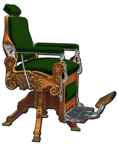 From the Barber Shop and Shoe Shine Memories licensed collection, this Kochs Barber Chair Plasma measures 16 inches by 20 inches and weighs in at 3 lb(s). Theo A. Kochs Barber's Supplies 158-170 Wells St, Chicago. 1894 Barber Chair, Koch's Columbia no. 3, Revolving and Reclining, Patented Dec 8, 1891. Made of Oak (antique finish) or Walnut. Price, covered with Mohair Plush, Crimson, Maroon, Green or Old Gold ….$50. Yes, Prices have gone up a little… but these chairs were works of Art. These classic Die Cut metal signs are the closest you can get to the real deal for about what the original chair cost in 1894! This Plasma is hand made in the USA using heavy gauge American steel.        THIS IS A SPECIAL ORDER SIGN PLEASE ALLOW 4-6 WEEKS FOR DELIVERY.