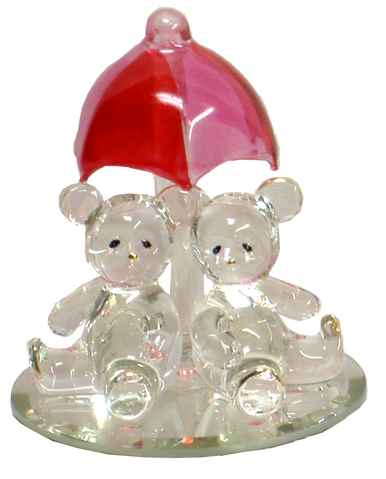 "GLASS BEAR CUBS UNDER RED UMBRELLA ON MIRROR 22K GOLD TRIM 3 1/16"" X 3 1/16"" X 3 5/8"" HAND CRAFTED, HAND PAINTED"
