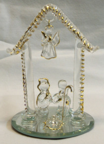 "GLASS NATIVITY SCENE ON MIRROR 22K GOLD TRIM 3 1/16"" X 3 1/6"" X 4 1/2""  HAND CRAFTED & HAND PAINTED"