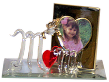 "MOM W/HUMMING BIRD & PICTURE FRAME ON MIRROR 22K GOLD TRIM 4 1/2"" X 2 1/8"" X 2 7/8"" HAND CRAFTED & HAND PAINTED"