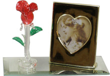 "MINI-GLASS ROSE & PICTURE FRAME ON MIRROR 4 1/2"" X 2 1/8"" X 2 7/8"" HAND CRAFTED & HAND PAINTED W/ BRASS PICTURE FRAME"