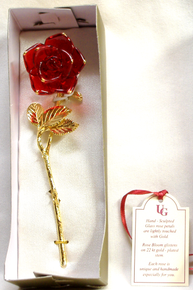 "RED GLASS ROSE 22K GOLD 1 3/4"" X 1 3/8"" X 5 7/8"" HAND CRAFTED & HAND PAINTED"