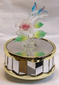 "GLASS HUMMING BIRD OVER FLOWER PLAYS BEAUTY & THE BEAST 3 5/8"" X 3 5/8"" X 5 1/8""  HAND CRAFTED & HAND PAINTED"
