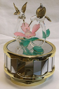 "TWO GLASS HUMMING BIRDS OVER FLOWER MUSIC CAROUSEL PLAYS SLEEPING BEAUTY 4"" X 4"" X 6"" HAND CRAFTED & HAND PAINTED"
