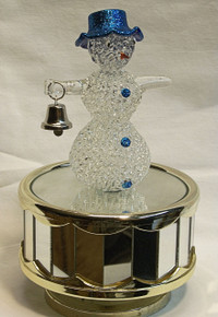 "SCULPTURED GLASS SNOWMAN W/BELL CAROUSEL PLAYS WHITE CHRISTMAS 4"" X 4"" X 6 1/2"" HAND CRAFTED & HAND PAINTED BATTERY OPERATED REQUIRED 2 AA BATERIES (NOT INCLUDED)"