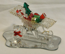 "GLASS SLEIGH WITH GIFT & BEAR ON MIRROR 22K GOLD TRIM  5"" X 3 1/4"" X 2 5/8"" HAND CRAFTED & HAND PAINTED"