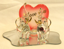"TWO GLASS ELEPHANTS ON GLASS MIRROR WITH I LOVE YOU RED HEART 5"" X 3 1/8"" X 3 3/8"" HAND CRAFTED & HAND PAINTED"