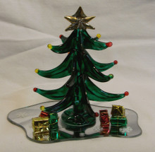 "GLASS TREE WITH GIFTS ON MIRROR 22K GOLD TRIM  5"" X 3 1/2"" X 4 3/8"" HAND CRAFTED & HAND PAINTED"