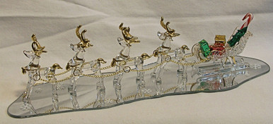 "FOUR GLASS REINDEER PULLING SLEIGH ON MIRROR  22K GOLD TRIM 10 1/2"" X 3 1/2"" X 2 3/8""  HAND CRAFTED & HAND PAINTED"