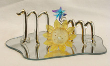"GLASS SCRIPT ""MOM"" WITH SUNFLOWER & BUTTERFLY  22K GOLD TRIM 5"" X 3 3/16"" X 1 5/8""  HAND CRAFTED & HAND PAINTED"