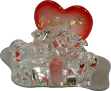 "GLASS HIPPOS WITH HEART ON MIRROR 22K GOLD TRIM  4 7/8"" X 3 1/8"" X 3 1/8"" HAND CRAFTED & HAND PAINTED"