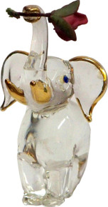 "GLASS BABY ELEPHANT WITH FLOWER 22K GOLD TRIM 1 7/8"" X 1 3/8"" X 2 1/2"" HAND CRAFTED & HAND PAINTED"