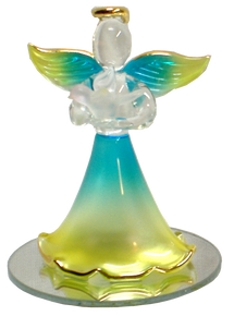 "GLASS BLUE & YELLOW ANGEL WITH DOVE ON MIRROR  22K GOLD TRIM 2 1/2"" X 2 1/2"" X 3 5/16"" HAND CRAFTED & HAND PAINTED"