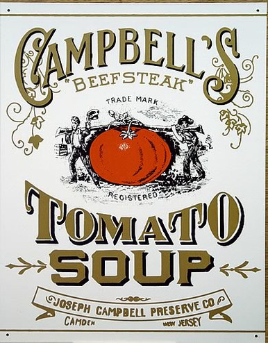 Photo of CAMPBELL'S  TOMATO SOUP LABEL ON THEIR 1865 CANS, FROM THEIR VERY EARLY DAYS, THIS OLD TIME SIGN HAS GREAT VINTAGE DETAILS AND COLOR, CAMDEN, N.J.
