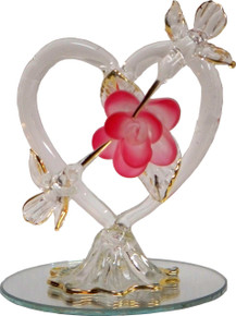 "2 GLASS HUMMING BIRD W/HEART ON MIRROR 22K GOLD TRIM  2 1/2"" X 2 1/2"" X 3 3/16"" HAND CRAFTED & HAND PAINTED"