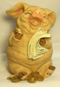 """PIGGY BANK (WITH SLOT FOR MONEY AND RUBBER PLUG AT BOTTOM) ONLY THREE LEFT   5 1/2"""" X 5 7/8"""" X 8"""""""