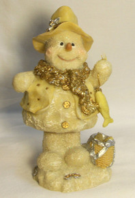 "FROSTED FISHING SNOWPERSON WITH BOBBLE BODY  3 3/4"" X 3 1/4"" X 6 1/2"""