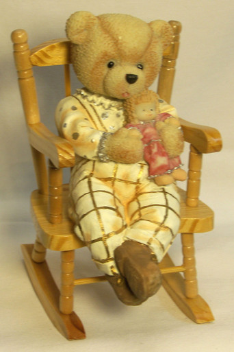 """GIRL BEAR CUB W/DOLL ON WORKING WOOD ROCKING CHAIR (2) ONLY TWO LEFT 3 1/2"""" X 5"""" X 6 1/4"""""""