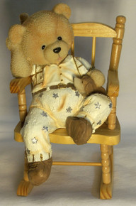 "BOY BEAR CUB W/PUPPY ON WORKING WOOD ROCKING CHAIR (2) 3 1/2"" X 5"" X 6 1/4""  ONLY TWO LEFT"