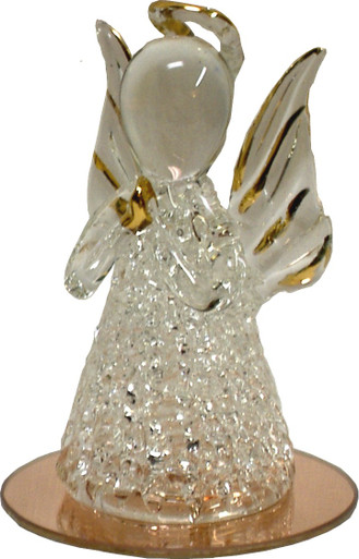 "GLASS ANGEL PRAYING ON MIRROR  2 1/2"" X 2 1/2"" X 3 1/2""  HAND CRAFTED & HAND PAINTED 22K GOLD TRIM"