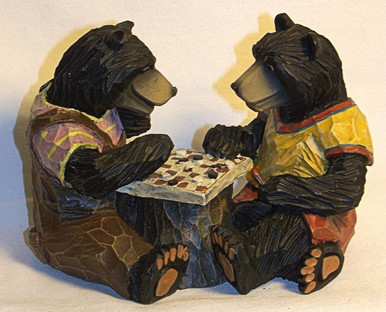"BEARS PLAYING CHECKERS 5 1/4"" X 3 3/8"" X 4"""