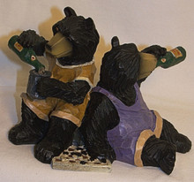 "BEARS DRINKING (CHECKER GAMEBEHIND THEM)  5 7/8"" X 3 1/2"" X 4 1/8"""