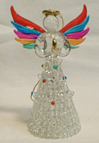 "GLASS ANGEL WITH RAINBOW COLORED WINGS 22K GOLD TRIM  2 1/4"" X 1 1/2"" X 3 3/4"" HAND CRAFTED & HAND PAINTED"