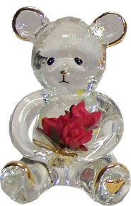 "GLASS BEAR CUB WITH BOUQUET OF FLOWERS 22K GOLD TRIM  1 3/4"" X 1 5/8"" X 2 5/8"" HAND CRAFTED & HAND PAINTED"