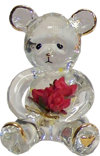 """GLASS BEAR CUB WITH BOUQUET OF FLOWERS 22K GOLD TRIM  1 3/4"""" X 1 5/8"""" X 2 5/8"""" HAND CRAFTED & HAND PAINTED"""