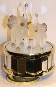 "MOTHER & BABY ELEPHANT CAROUSEL PLAYS MEMORY - HAND CRAFTED (1)  ONLY ONE LEFT   MEASURES 3 5/8"" X 3 5/8"" X 4 1/8"""