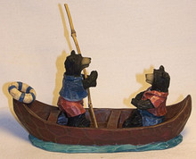 "TWO BEARS IN CANOE MEASURES 5"" X 1 1/2"" X 3""   RESIN/WOOD CARVED LOOK"