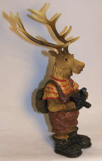 "ELK WITH CAMERA WEARING BACK PACK  MEASURES 4 1/4"" X 4 1/2"" X 8 5/8""  RESIN WOOD CARVED LOOK"