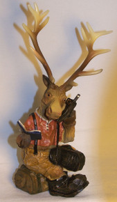 "ELK TALKING ON CELL PHONE  MEASURES 5"" X 3 3/4"" X 8 5/8""  RESIN WOOD CARVED LOOK"