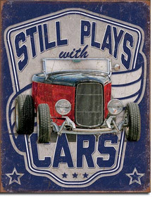 """STILL PLAYS WITH CARS VINTAGE TIN SIGN  HAS HOLES IN EACH CORNER FOR EASY MOUNTING,  MEASURES 12 1/2"""" W X 16"""" H"""