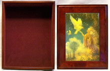 "WINGED WISDOM  JEWELRY BOX WITH LID THAT CAN BE DISPLAYED ON WALL  ART DESIGNS BY JOSEPHINE WALL   A POPULAR ENGLISH FANTASY ARTIST. THIS JEWELRY BOX CAN BE USED IN SEVERAL DIFFERENT WAYS. THE LID CAN BE USED PICTURE UP OR WORDS UP OR CAN BE HUNG ON THE WALL, USING THE EYELETS PROVIDED THE CASE ITSELF IS FELT LINED  AND WITH LID MEASURES 8 5/8"" X 6 13/16"" X 3 1/2"""