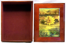 "HORIZONS  JEWELRY BOX WITH LID THAT CAN BE DISPLAYED ON WALL  ART DESIGNS BY JOSEPHINE WALL A POPULAR ENGLISH FANTASY ARTIST. THIS JEWELRY BOX CAN BE USED IN SEVERAL DIFFERENT WAYS. THE LID CAN BE USED PICTURE UP OR WORDS UP OR CAN BE HUNG ON THE WALL,  USING THE EYELETS PROVIDED THE CASE ITSELF IS FELT LINED  AND WITH LID  MEASURES 8 5/8"" X 6 13/16"" X 3 1/2"""