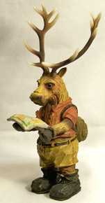 "ELK READING MAP FIGURINE  MEASURES 4 1/8"" X 4 7/8"" X 9"""