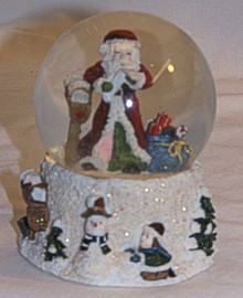 "SMALL SNOW GLOBE SANTA READING LETTER BY MAIL BOX MEASURES 2 7/8"" X 2 7/8"" X 3 1/2"""