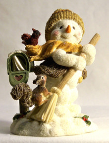 "ADORABLE SNOW PERSON SWEEPING THE SNOW BY MAILBOX WITH CARDINAL & SQUIRREL MEASURES 3 5/8"" X 3"" X 4 3/8"""
