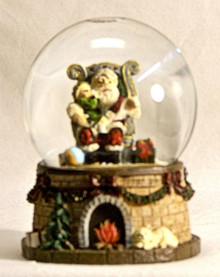 "SMALL SNOW GLOBE SANTA W/CHILD ON HIS LAP READING THE CHRISTMAS WISH LIST MEASURES 2 5/8"" X 2 3/4"" X 4"""
