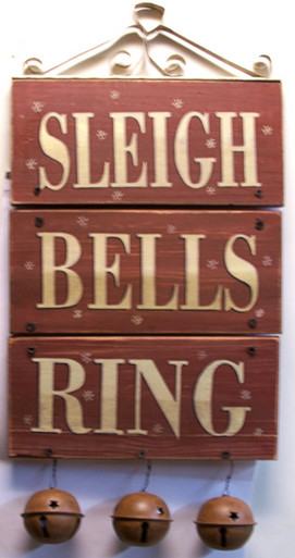 "SLEIGH BELLS RING WOOD AND METAL DECORATION (BELLS MEASURE 2 5/8"" DIA.) OVERALL MEASUREMENTS 10 1/2"" X 2 5/8"" X 20 1/2"""
